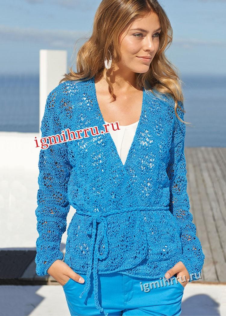 Женственный ажурный жакет голубого цвета. Вязание спицами