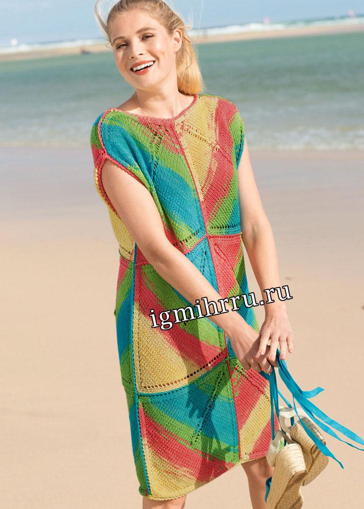Яркое летнее платье из крупных квадратов. Вязание спицами