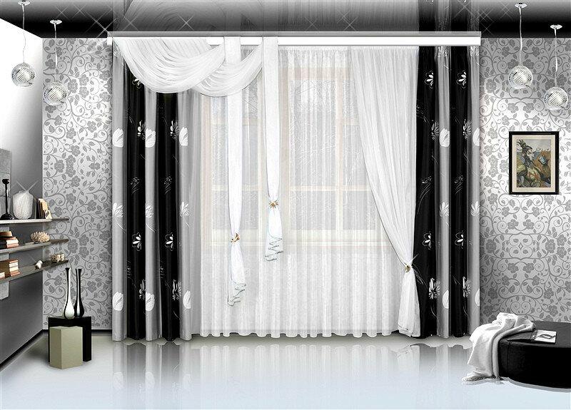 Черно белые шторы дизайн