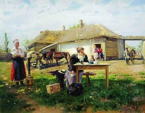 Владимир Маковский. Приезд учительницы в деревню. 1897