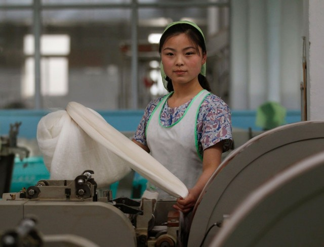 A woman works in the Kim Jong-suk Pyongyang Silk Mill in Pyongyang April 9, 2012. The factory is nam