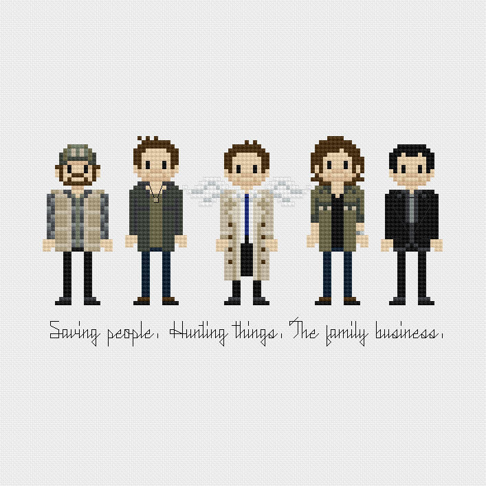 Cult Pop Characters Pixelated Embroidery