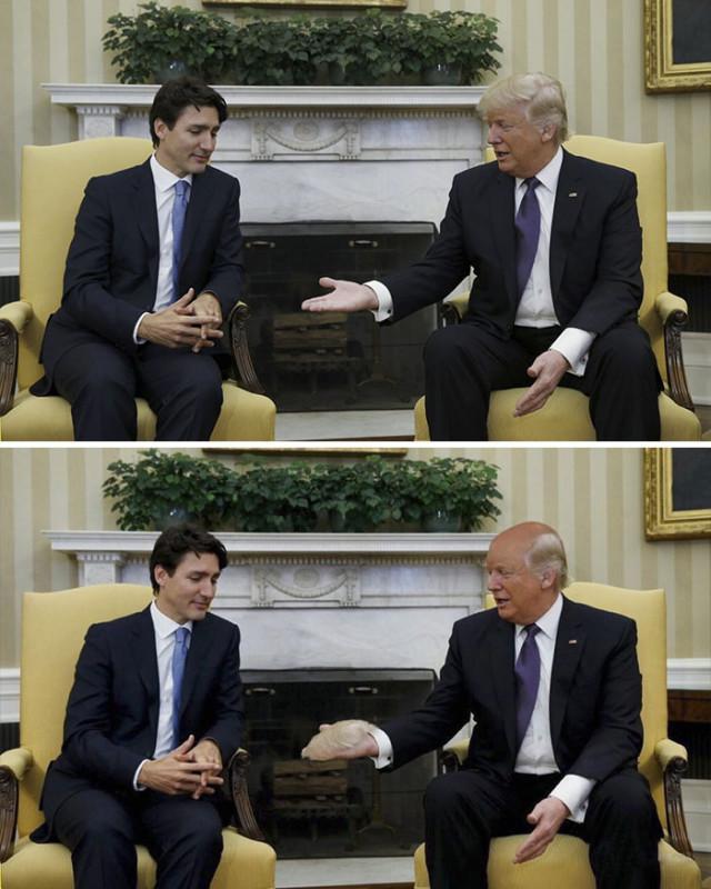Премьер-министр Канады Джастин Трюдо пожимает руку Дональду Трампу.