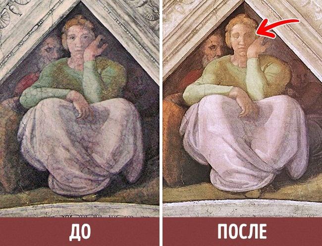 © wikipedia  Восстановление фресок вСикстинской капелле было самой масштабной реставрационной