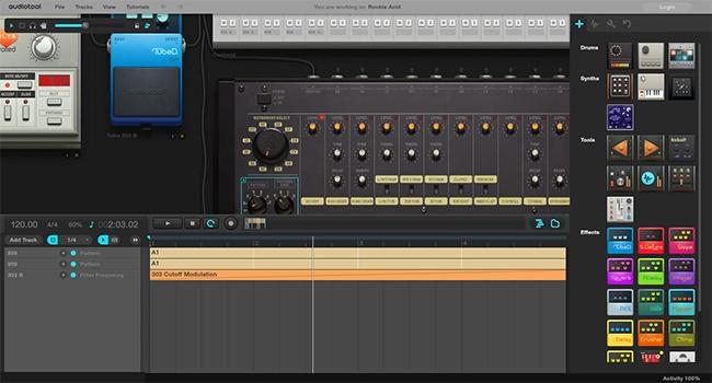 © audiotool.com  Этот аудиоредактор кроме набора базовых функций иэффектов имеет огромную биб