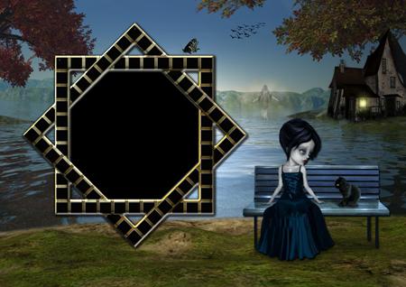 Рамка для фото с ведьмой, сидящей на скамейке у озера и привидением позади нее