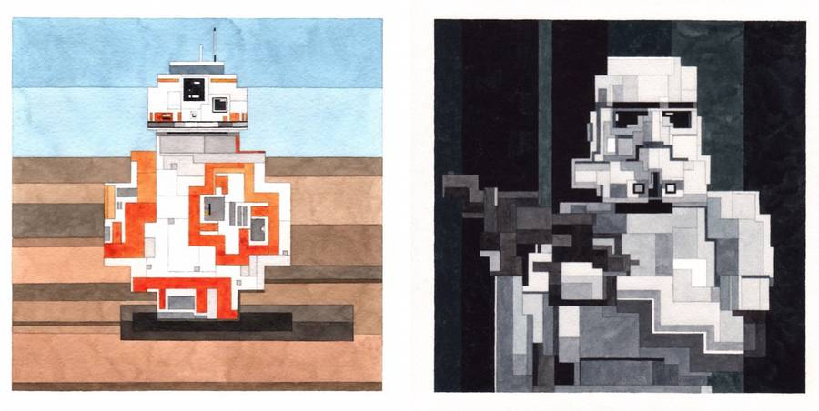 Watercolor 8 Bits Pop Culture Icons and Famous Paintings (11 pics)