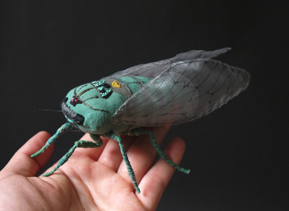 Large New Embroidered Textile Moths and Cicadas by Yumi Okita