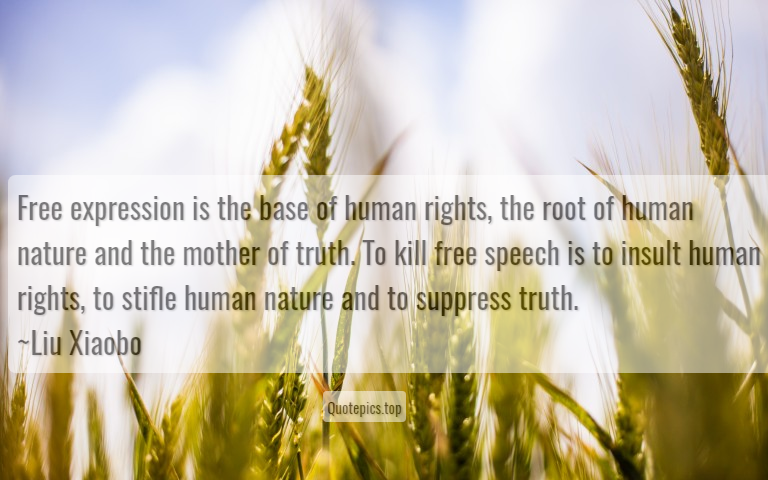 Free expression is the base of human rights, the root of human nature and the mother of truth. To kill free speech is to insult human rights, to stifle human nature and to suppress truth. ~Liu Xiaobo
