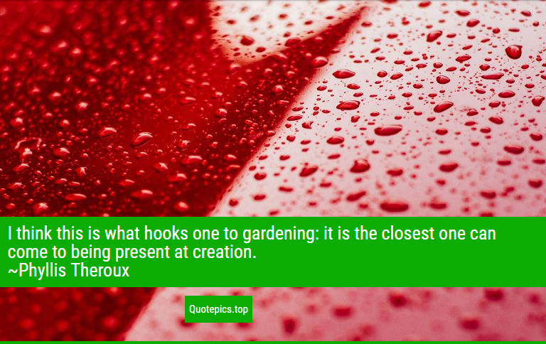 I think this is what hooks one to gardening: it is the closest one can come to being present at creation. ~Phyllis Theroux