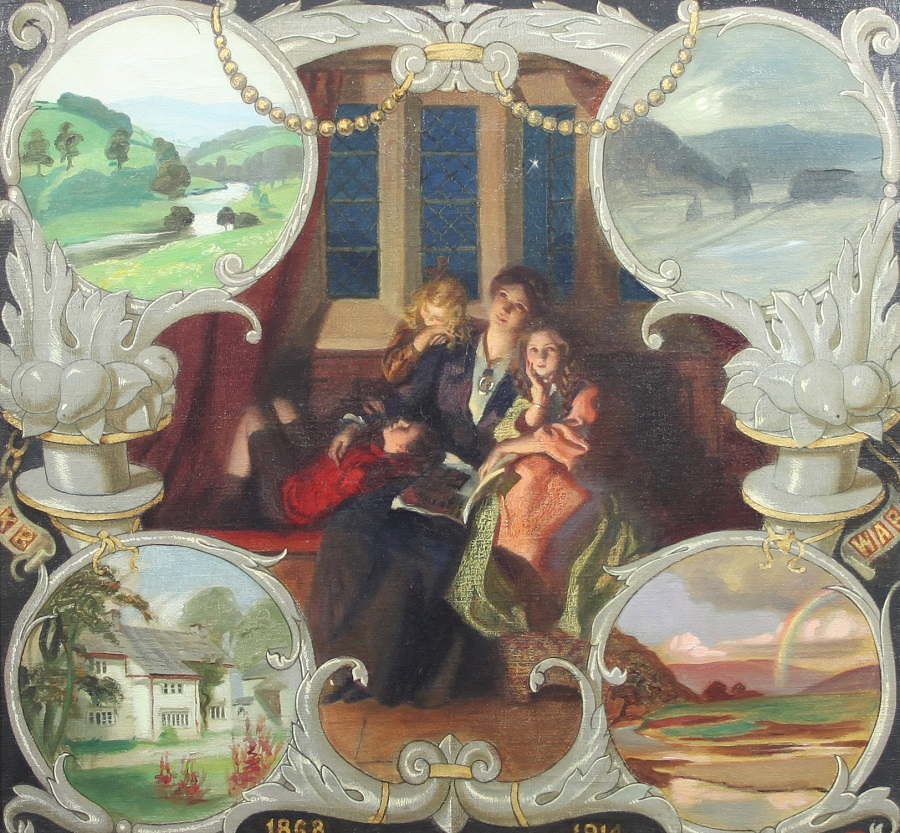 Portrait of Mrs Marjorie Bone with her Children and surrounded by memory vignettes.Jpeg