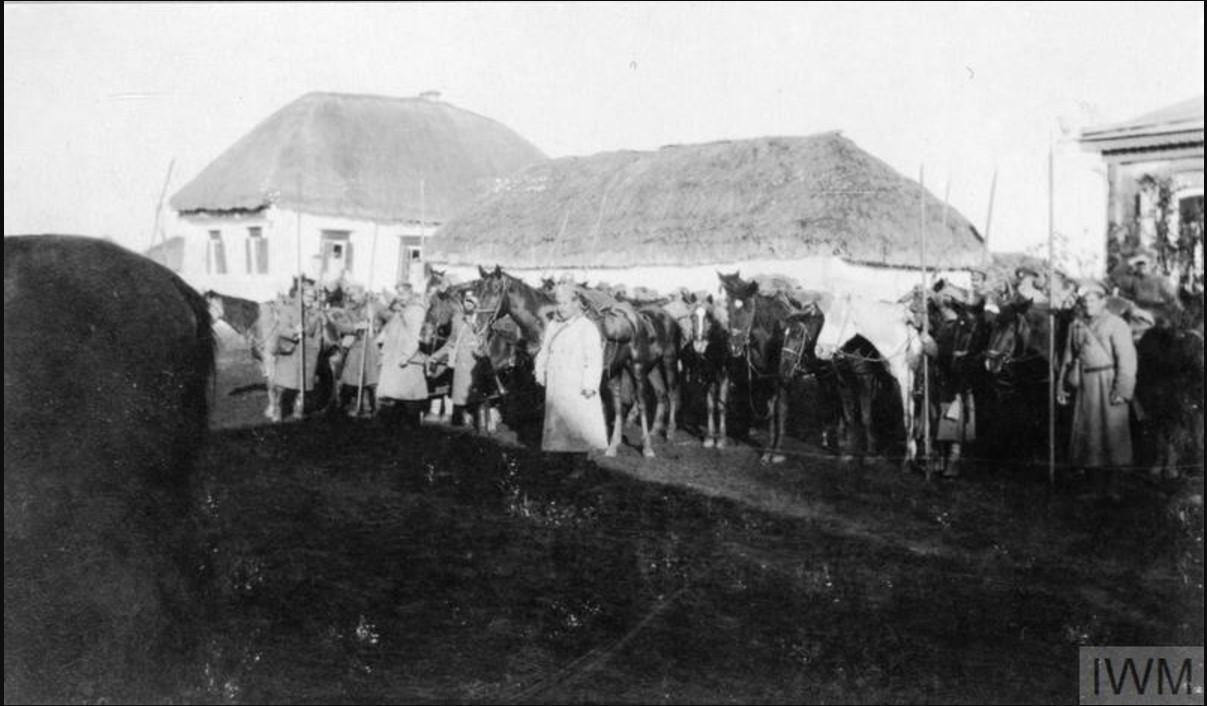 Казаки 3-й  бригады I Донского корпуса со своими лошадьми, ноябрь 1919