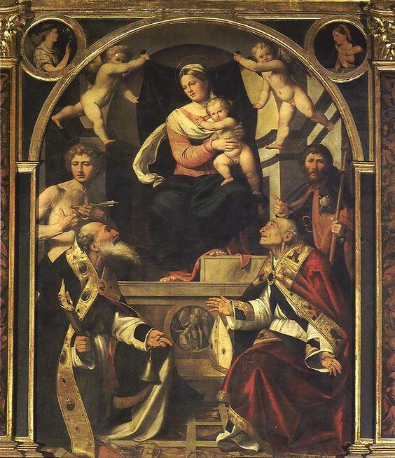 Piazza Callisto, Madonna col Bambino in trono e i santi Sebastiano, Antonio abate, Rocco e Siro (1525).jpg