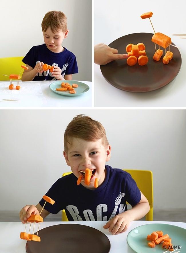 Морковка, яблоко, виноград, огурчик, банан— материалом для съедобного конструктора может стать все