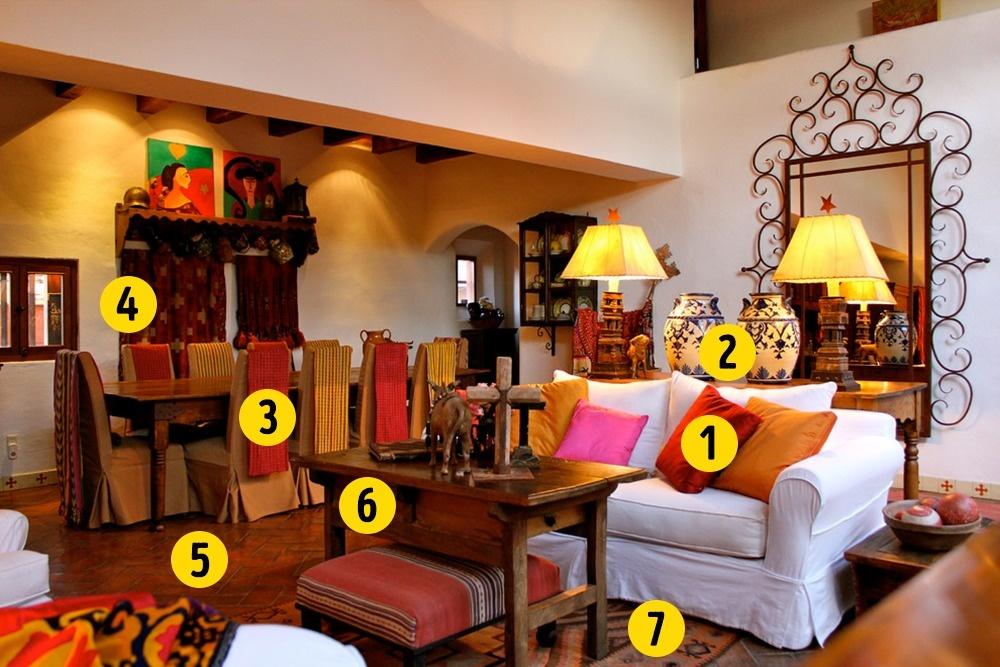 © houzz  Яркие цвета Огромная цветовая палитра является отличительной чертой мексиканского диз