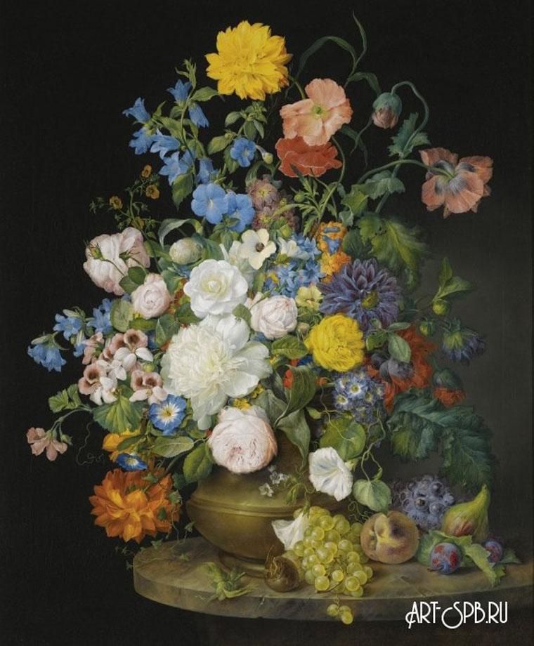 18852.jpgНатюрморт с букетом цветов в вазе и фруктами на каменном выступе. Франц Ксавер Петтер.jpg