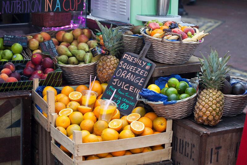 Fruit sale near metro station embankment
