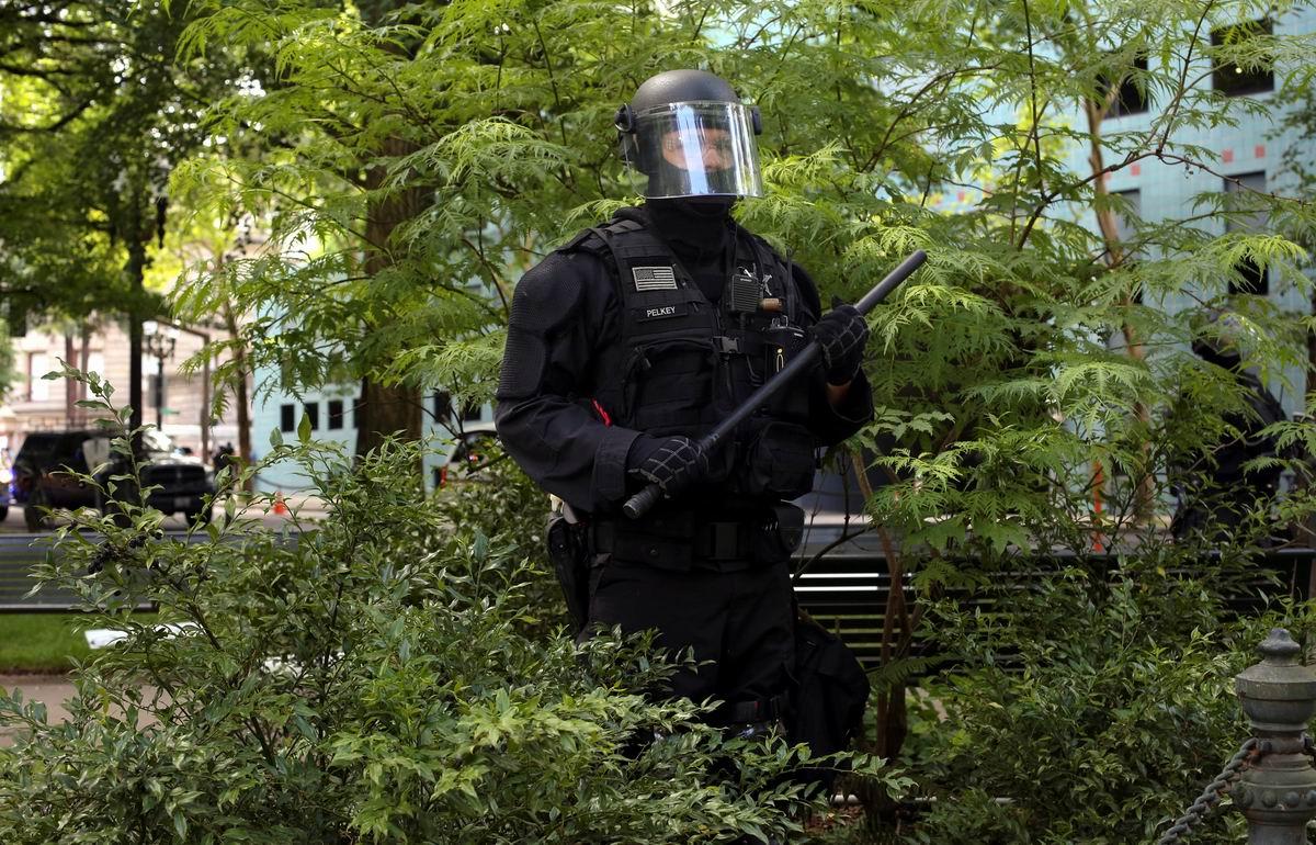 Засада в кустах: Американский полицейский на боевом дежурстве