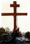 Установка креста на купол малого собора Христа Спасителя.