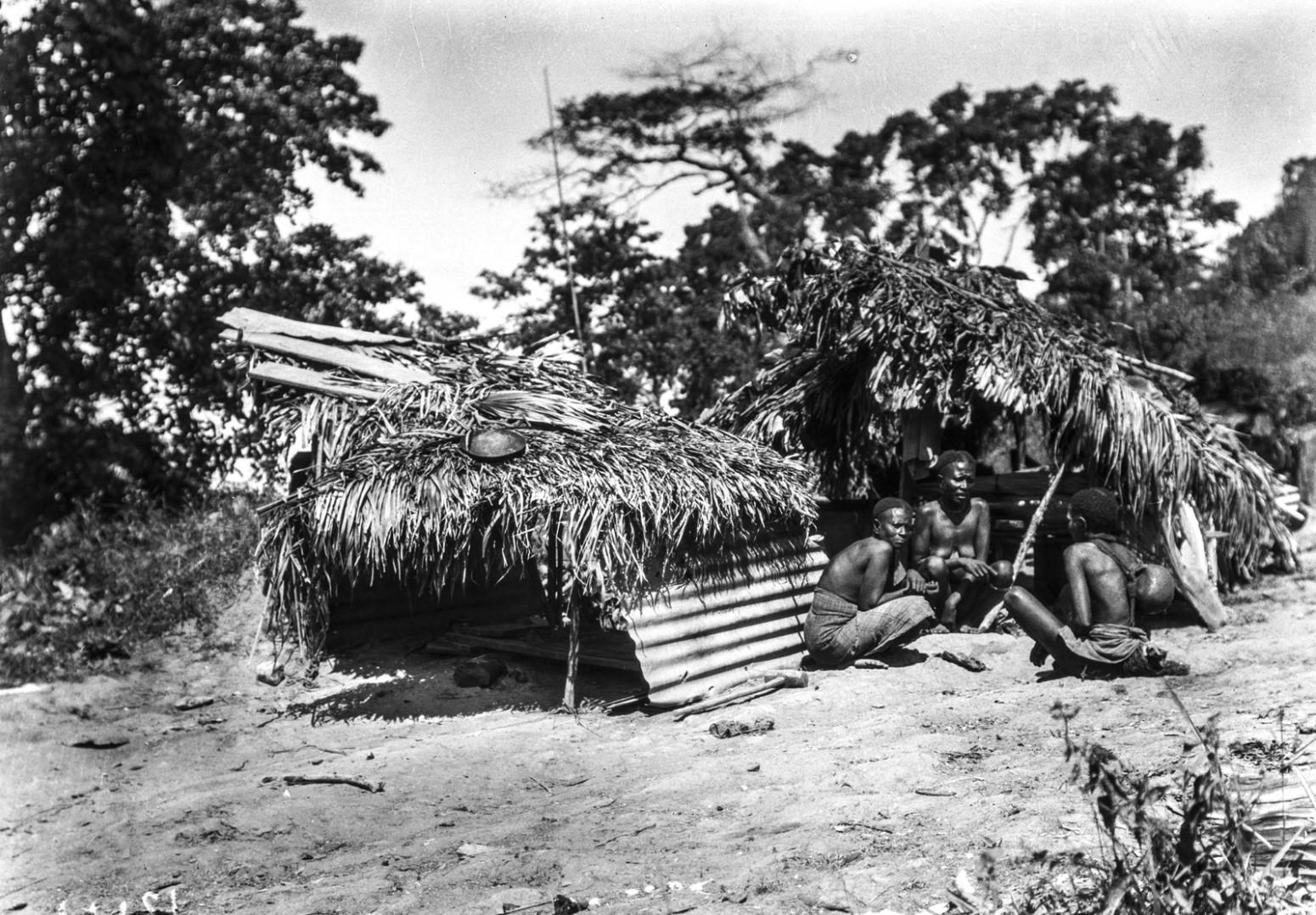 1261. Группа людей у хижин на острове Лонг
