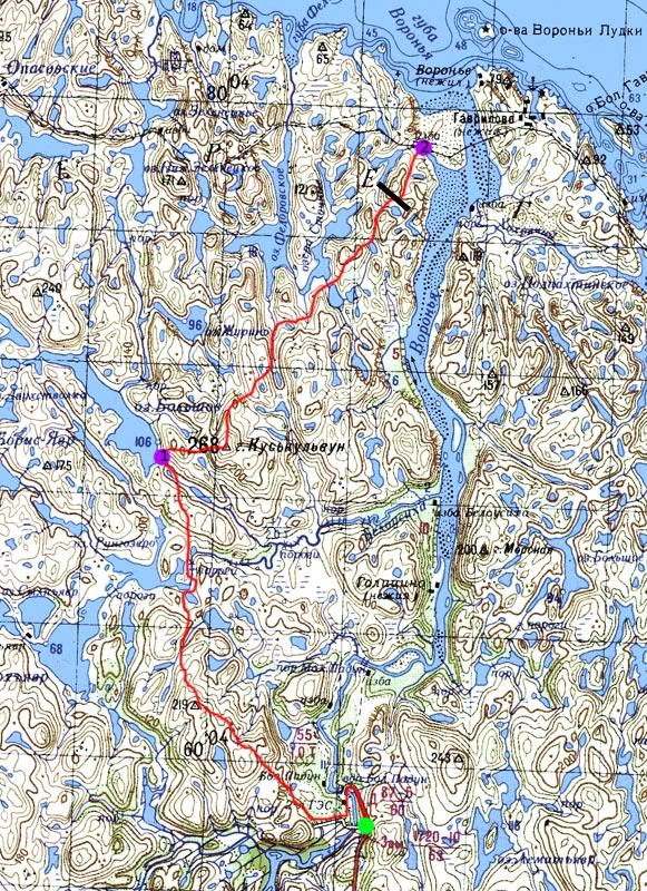 Карта первых 2-х дней пути