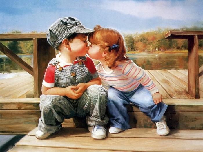 С днем поцелуя! Малыши целуются открытки фото рисунки картинки поздравления