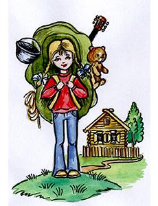 Открытка. День туризма. Девочка - турист открытки фото рисунки картинки поздравления