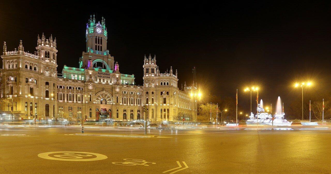 Ночной Мадрид. Площадь Сибелес и Дворец Связи