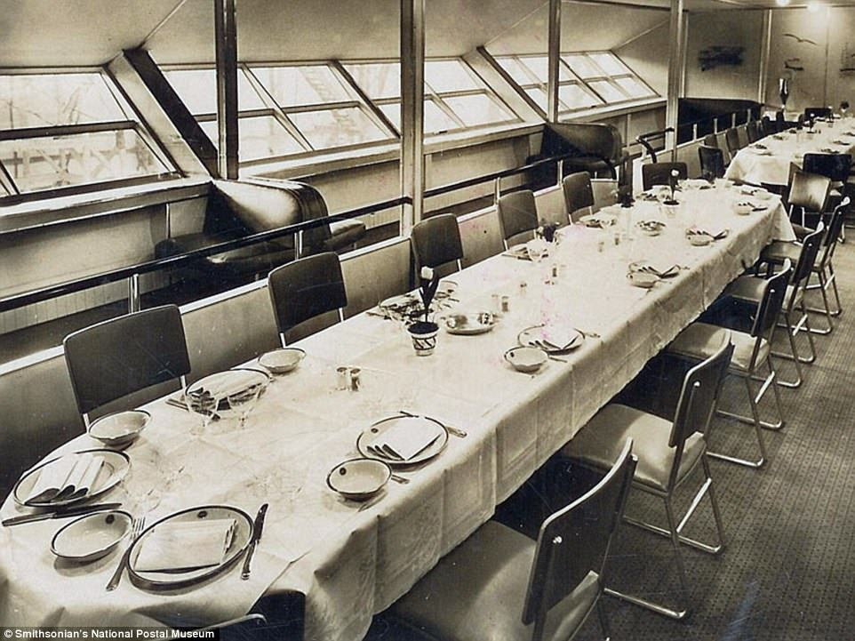 Обед на борту «Гинденбурга»: редкие фотографии роскошных интерьеров печально известного дирижабля (7 фото)