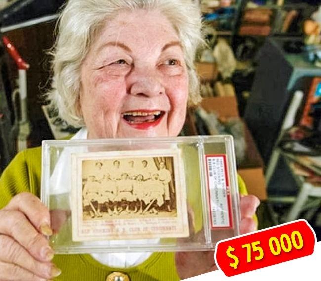 © imgur  Пожилая дама Бернис Калего, прибираясь всвоем доме, нашла старую фотографию бейсболь