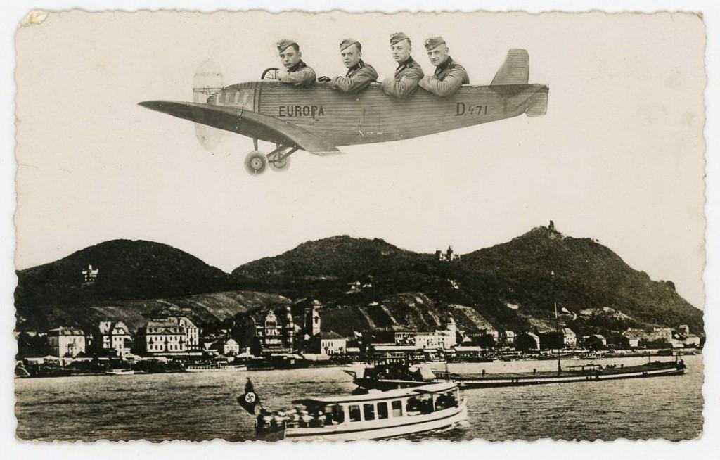 1930-1940-е годы. Фотомонтаж: нацистские офицеры в самолете. Германия.