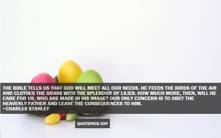 The Bible tells us that God will meet all our needs. He feeds the birds of the air and clothes the grass with the splendor of lilies. How much more, then, will He care for us, who are made in His image? Our only concern is to obey the heavenly Father and leave the consequences to Him. ~Charles Stanley