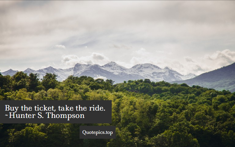 Buy the ticket, take the ride. ~Hunter S. Thompson