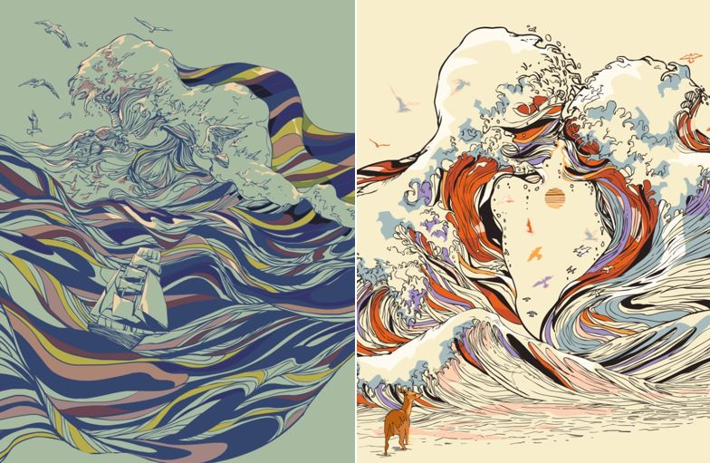 Psychedelic Drawings of Imaginary Lovers Formed By the Sea (7 pics)