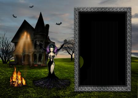 Фоторамка с колдующей ведьмой около костра на улице ночью рядом с черным заброшенным домом