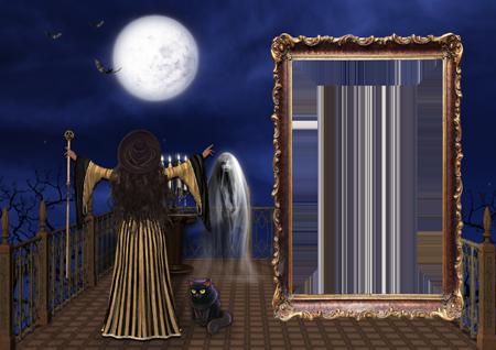 Фоторамка с колдующей ведьмой на балконе и привидением