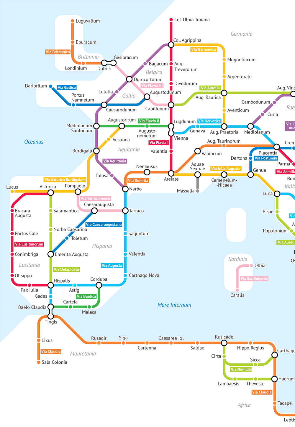 The Roman Empire's 250,000 Miles of Roadways Imagined as a Subway Transit Map