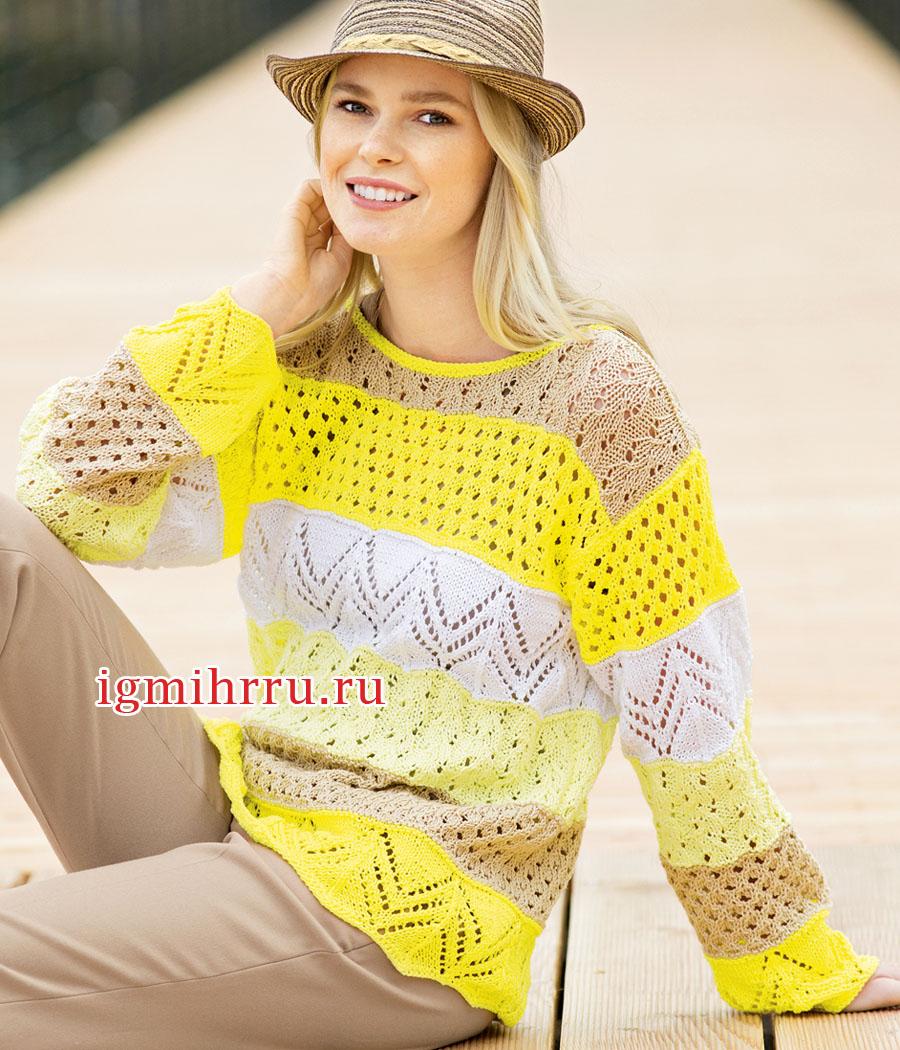 Летний пуловер с сочетанием узоров и цветов. Вязание спицами