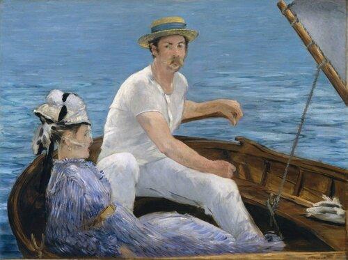 Эдуард Мане: Edouard Manet (1832-1883)  «В лодке». 1874