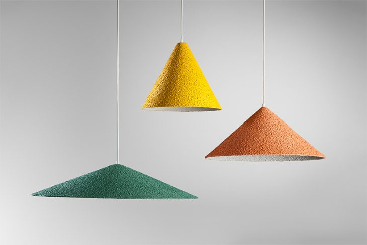 Yuval Tzur designed The Spritz hanging lights. Spritz is a technique of applying plaster mixture for