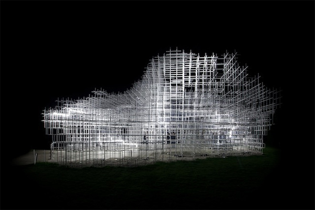 Sou Fujimoto's Giant Serpentine Pavilion Converted into a Storm of LED Lightning by UVA