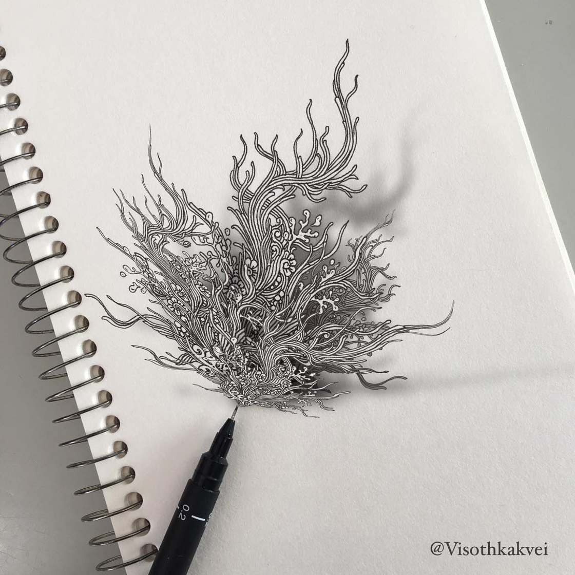 Les superbes doodles augmentes de Visothkakvei