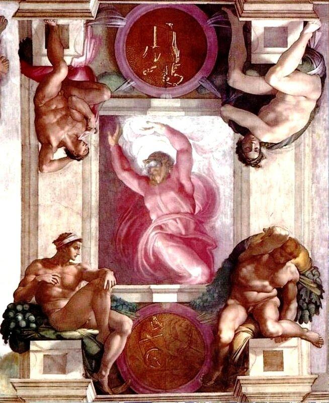 Микеланджело, Бог, отделяющий свет от тьмы , потолок Сикстинской капеллы..jpg