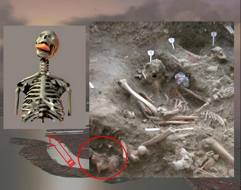 Скелет польского вампира с кирпичем во рту