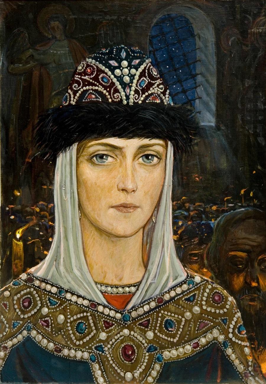 Княгиня Евдокия в храме.