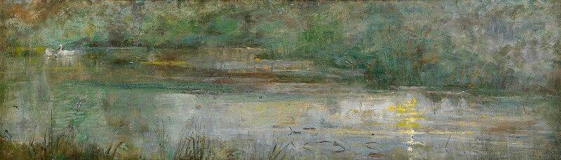 Olja på duk, 23 x 82,5 cm.