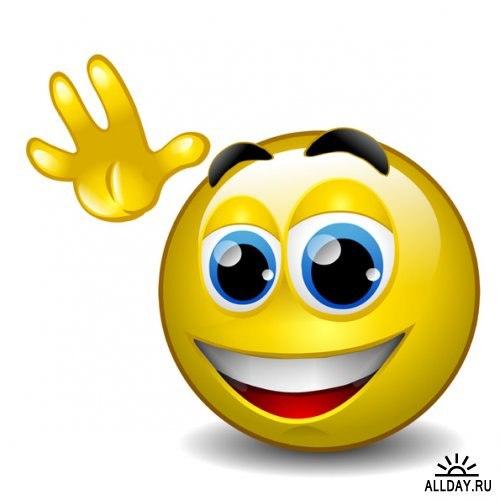 С Днем улыбки!  Смайлик машет с улыбкой