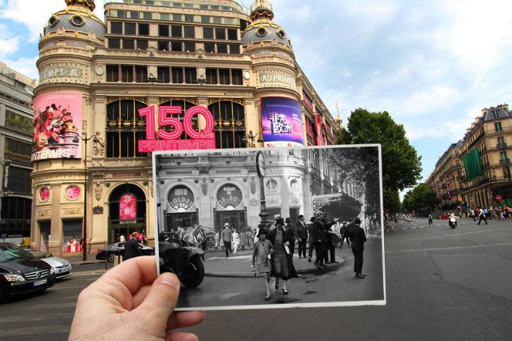 Универмаг «Прентам» на бульваре Османн сейчас и в 1930 году.