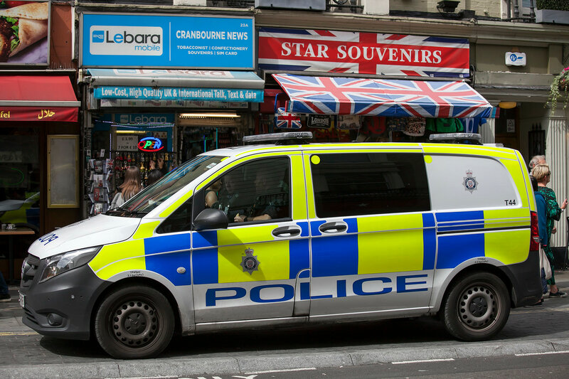 Police car parked near at Leicester Square
