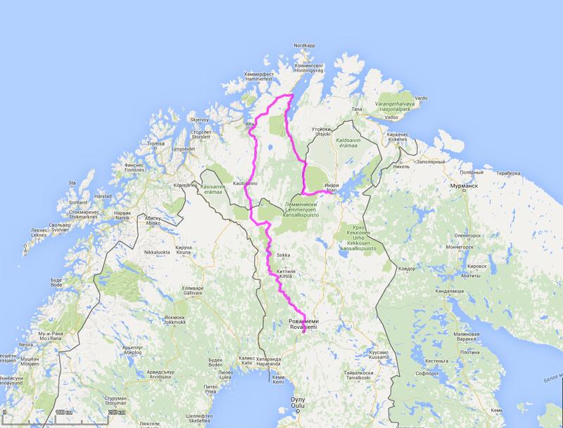 схема маршрута велопохода по северной финляндии и норвегии с ребенком